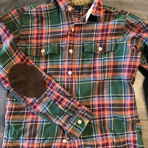 Ralph Lauren POLO flannel BD w/ leather patches S